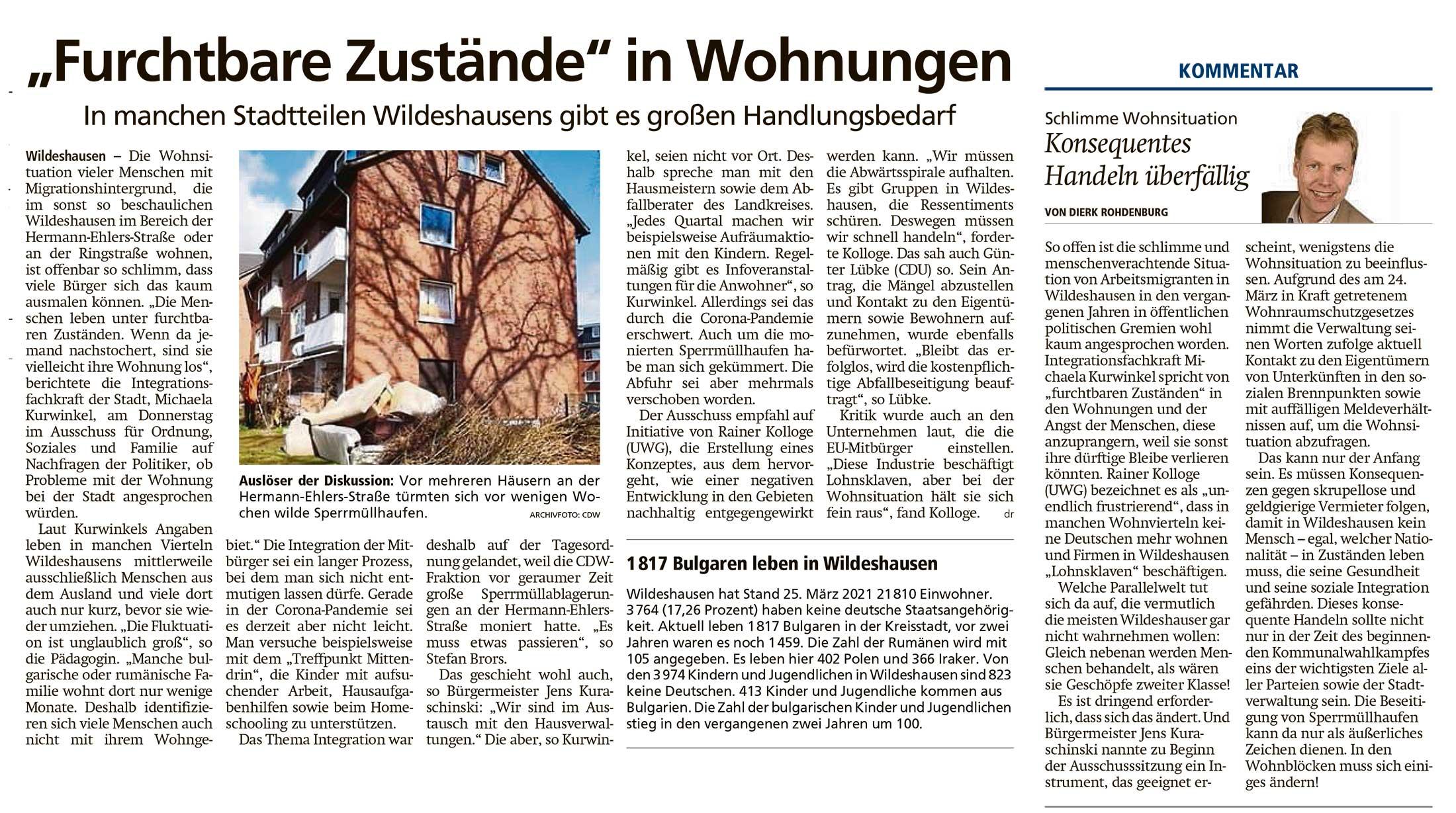'Furchtbare Zustände' in WohnungenIn manchen Stadtteilen Wildeshausens gibt es großen Handlungsbedarf // Kommentar: Schlimme Wohnsituation: Konsequentes Handeln überfälligArtikel vom 03.05.2021 (WZ)