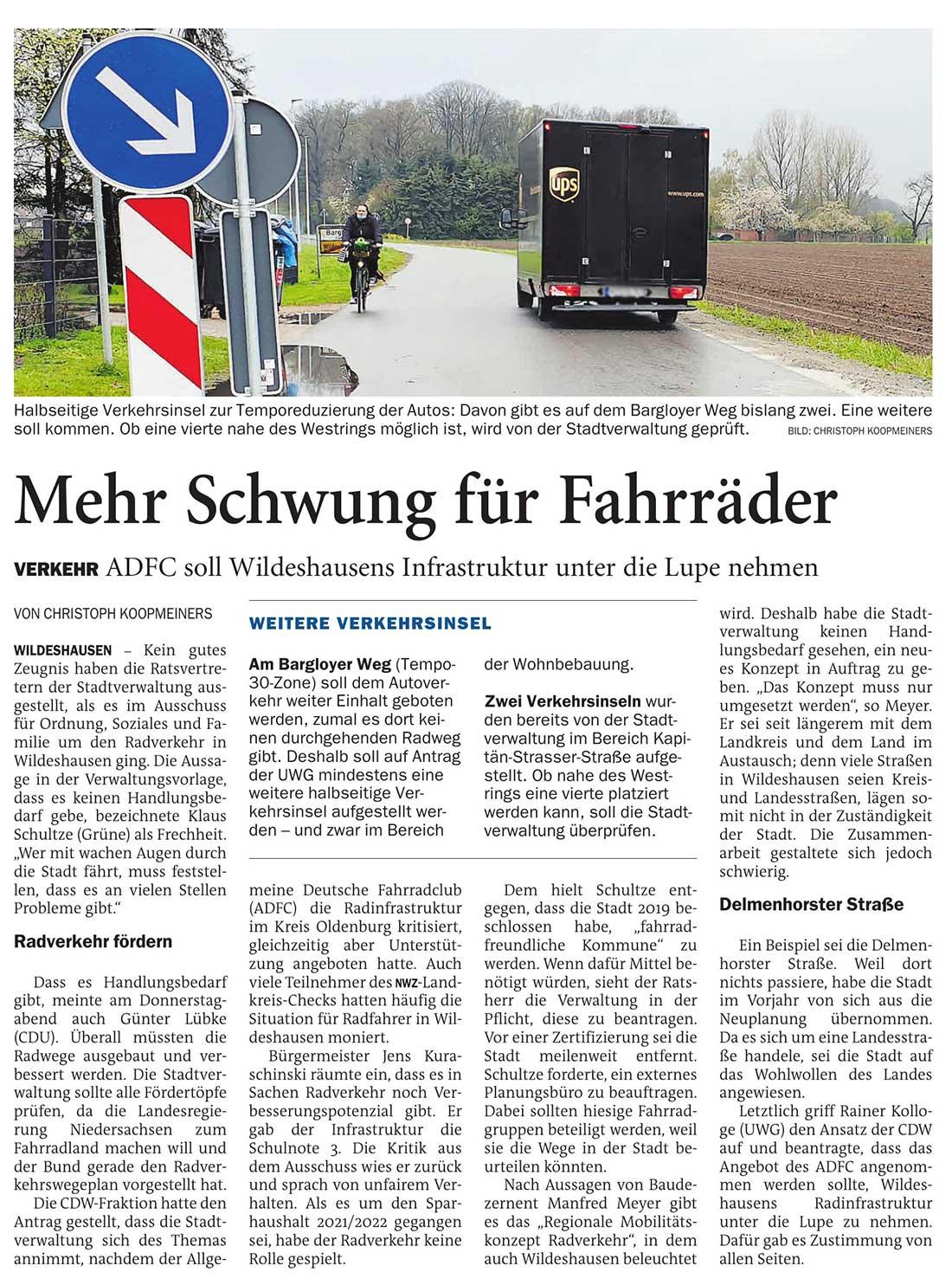 Mehr Schwung für FahrräderVerkehr: ADFC soll Wildeshausens Infrastruktur unter die Lupe nehmenArtikel vom 03.05.2021 (NWZ)
