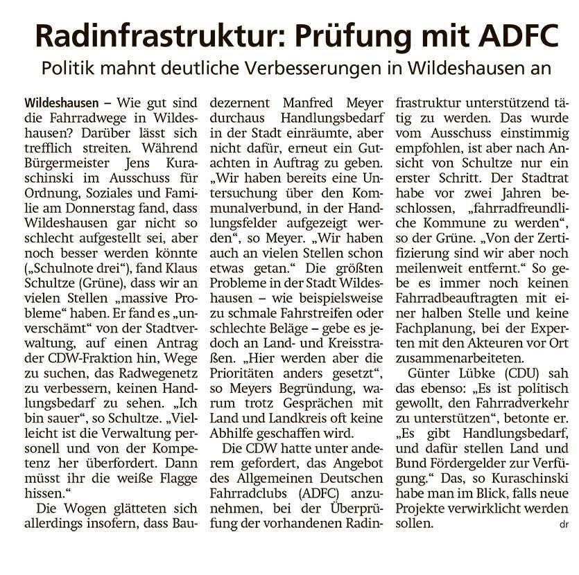 Radinfrastruktur: Prüfung mit ADFCPolitik mahnt deutliche Verbesserungen in Wildeshausen anArtikel vom 04.05.2021 (WZ)