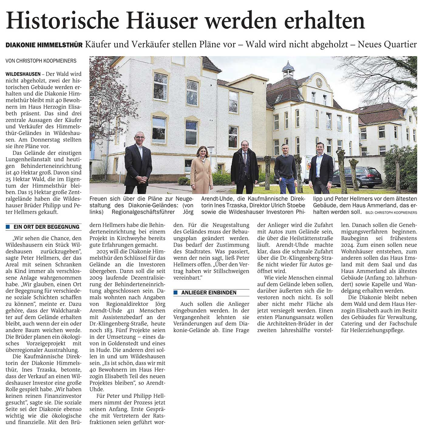 Historische Häuser werden erhaltenDiakonie Himmelsthür: Käufer und Verkäufer stellen Pläne vor - Wald wird nicht abgeholzt - Neues QuartierArtikel vom 07.05.2021 (NWZ)