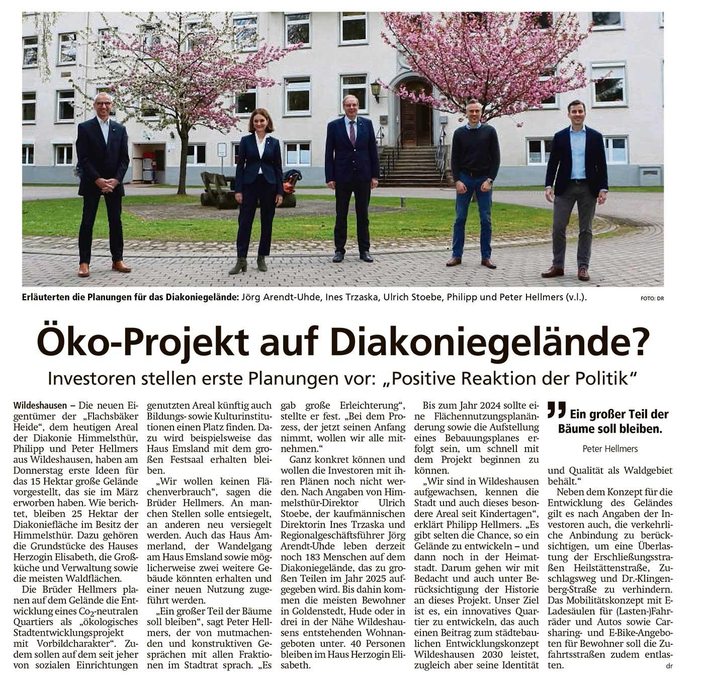 Öko-Projekt auf Diakoniegelände?Investoren stellen erste Planungen vor: 'Positive Reaktion der Politik'Artikel vom 07.05.2021 (WZ)