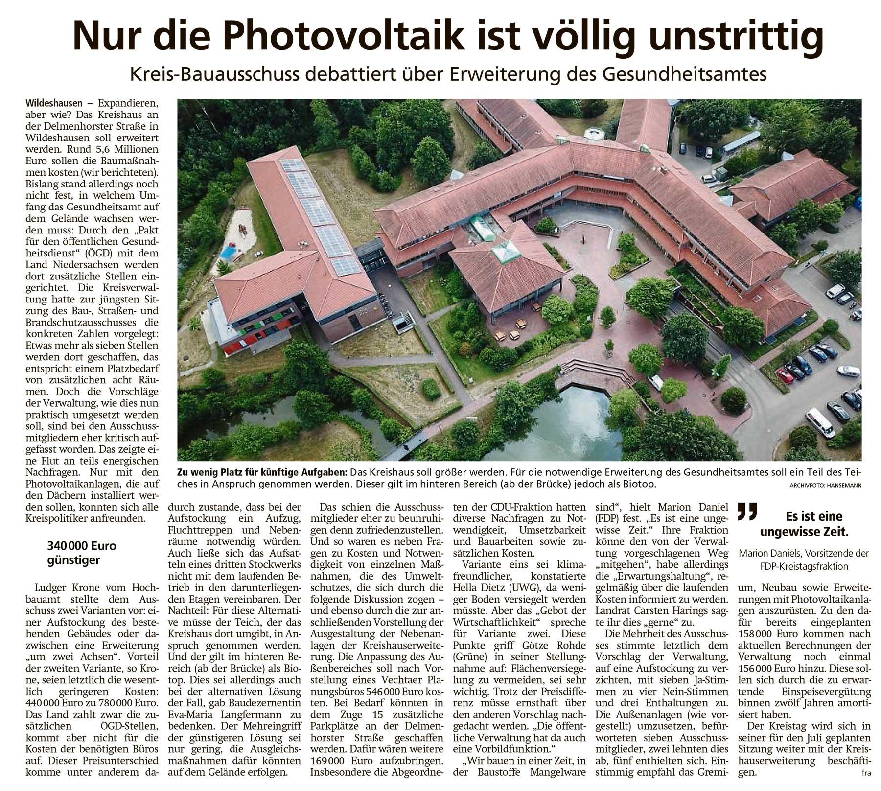 Nur die Photovoltaik ist völlig unstrittigKreis-Bauausschuss debattiert über Erweiterung des GesundheitsamtesArtikel vom 07.05.2021 (WZ)