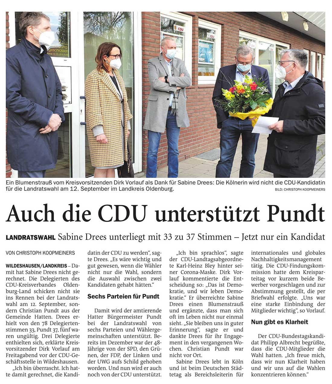 Auch die CDU unterstützt PundtLandratswahl: Sabine Drees unterliegt mit 33 zu 37 Stimmen - Jetzt nur ein KandidatArtikel vom 08.05.2021 (NWZ)