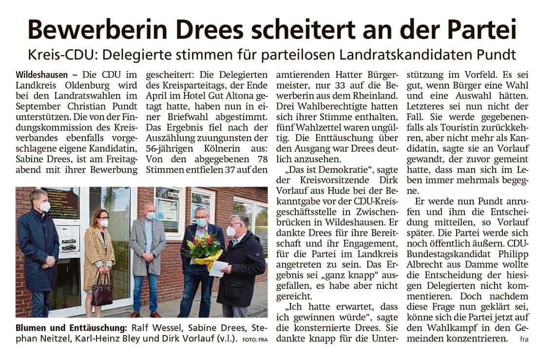Bewerberin Drees scheitert an der ParteiKreis-CDU: Delegierte stimmen für parteilosen Landratskandidaten PundtArtikel vom 08.05.2021 (WZ)