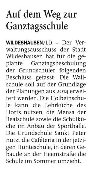 Auf dem Weg zur GanztagsschuleDer Verwaltungsausschuss der Stadt Wildeshausen hat für die geplante Ganztagsbeschulung der Grundschüler folgenden Beschluss gefasst:...Artikel vom 08.05.2021 (NWZ)