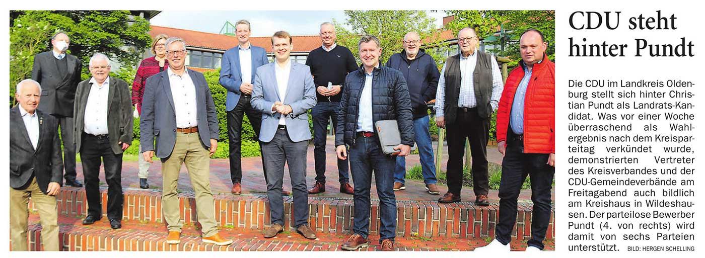 CDU steht hinter PundtDie CDU im Landkreis Oldenburg stellt sich hinter Christian Pundt als Landrats-Kandidat.Artikel vom 15.05.2021 (NWZ)