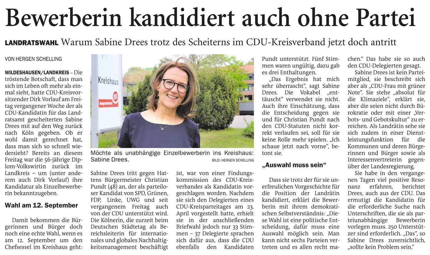 Bewerberin kandidiert auch ohne ParteiLandratswahl: Warum Sabine Drees trotz des Scheiterns im CDU-Kreisverband jetzt doch antrittArtikel vom 15.05.2021 (NWZ)