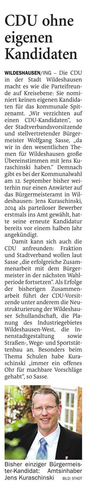 CDU ohne eigenen KandidatenDie CDU in der Stadt Wildeshausen macht es wie die Parteifreunde auf Kreisebene:...Artikel vom 18.05.2021 (NWZ)