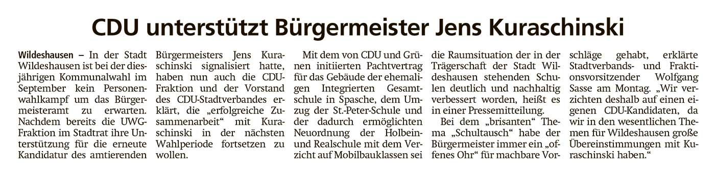 CDU unterstützt Bürgermeister Jens KuraschinskiIn der Stadt Wildeshausen ist bei der diesjährigen Kommunalwahl im September...Artikel vom 18.05.2021 (WZ)