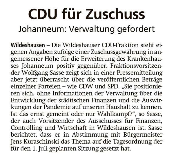 CDU für ZuschussJohanneum: Verwaltung gefordertArtikel vom 22.05.2021 (WZ)