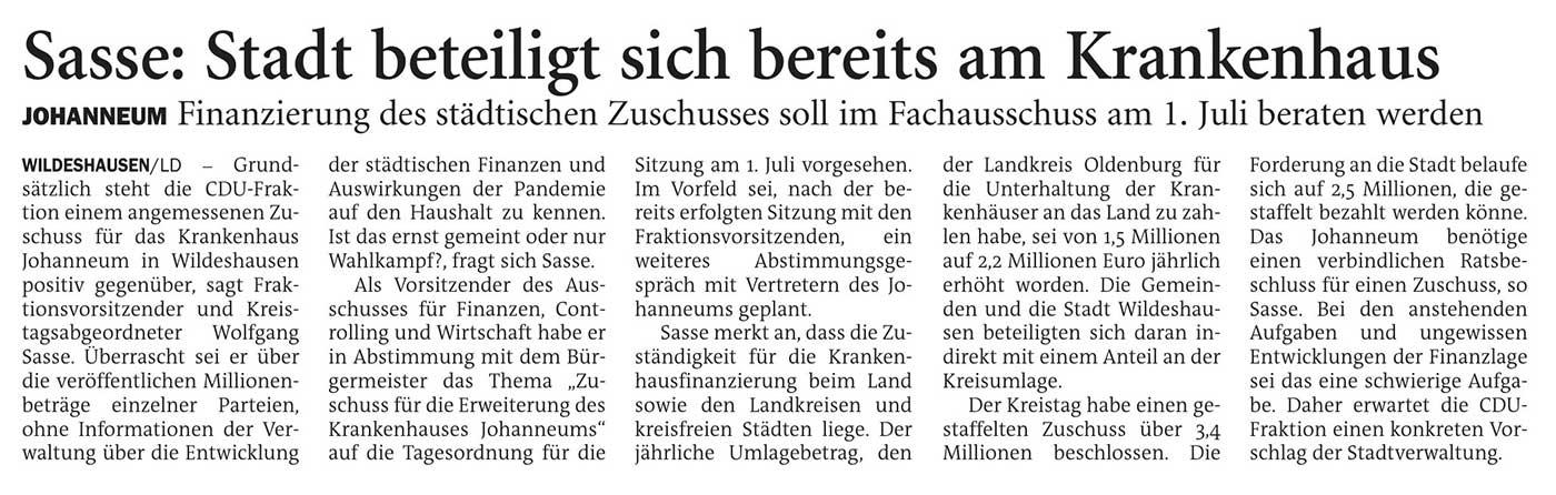 Sasse: Stadt beteiligt sich bereits am KrankenhausJohanneum: Finanzierung des städtischen Zuschusses soll im Fachausschuss am 1. Juli beraten werdenArtikel vom 25.05.2021 (NWZ)