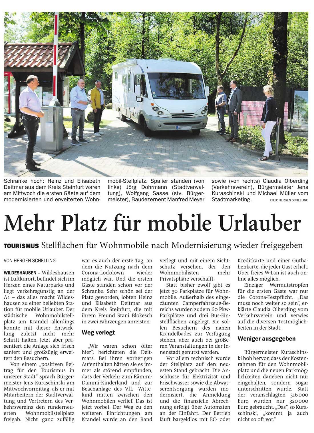 Mehr Platz für mobile UrlauberTourismus: Stellflächen für Wohnmobile nach Modernisierung wieder freigegebenArtikel vom 03.06.2021 (NWZ)
