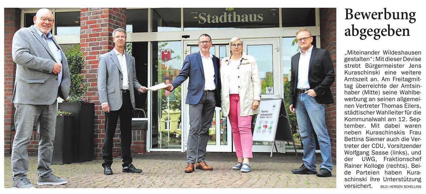 Bewerbung abgegeben'Miteinander Wildeshausen gestalten': Mit dieser Devise strebt Bürgermeister Jens Kuraschinski eine weitere Amtszeit an....Artikel vom 05.06.2021 (NWZ)