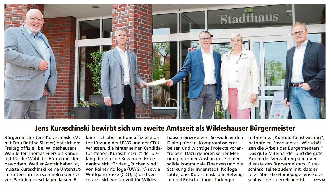 Jens Kuraschinski bewirbt sich um zweite Amtszeit als Wildeshauser BürgermeisterBürgermeister Jens Kuraschinski...Artikel vom 05.06.2021 (WZ)