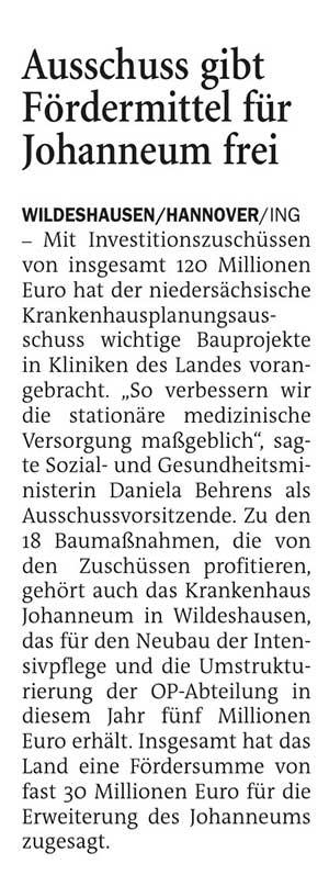 Ausschuss gibt Fördermittel für Johanneum freiMit Investitionszuschüssen von insgesamt 120 Millionen Euro...Artikel vom 05.06.2021 (NWZ)