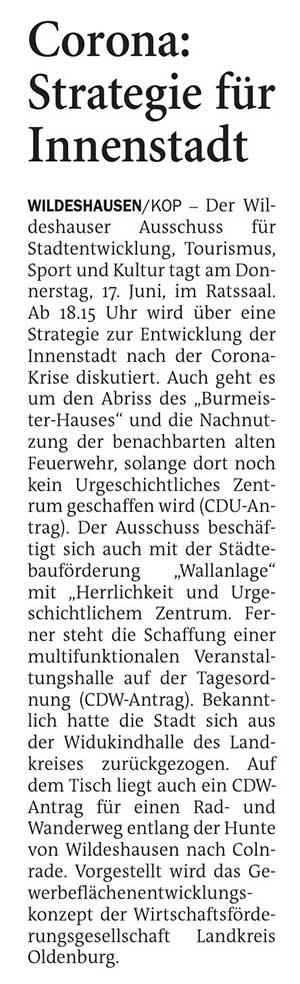 Corona: Strategie für InnenstadtDer Wildeshauser Ausschuss für Stadtentwicklung, Tourismus, Sport und Kultur tagt am Donnerstag, 17. Juni,...Artikel vom 07.06.2021 (NWZ)