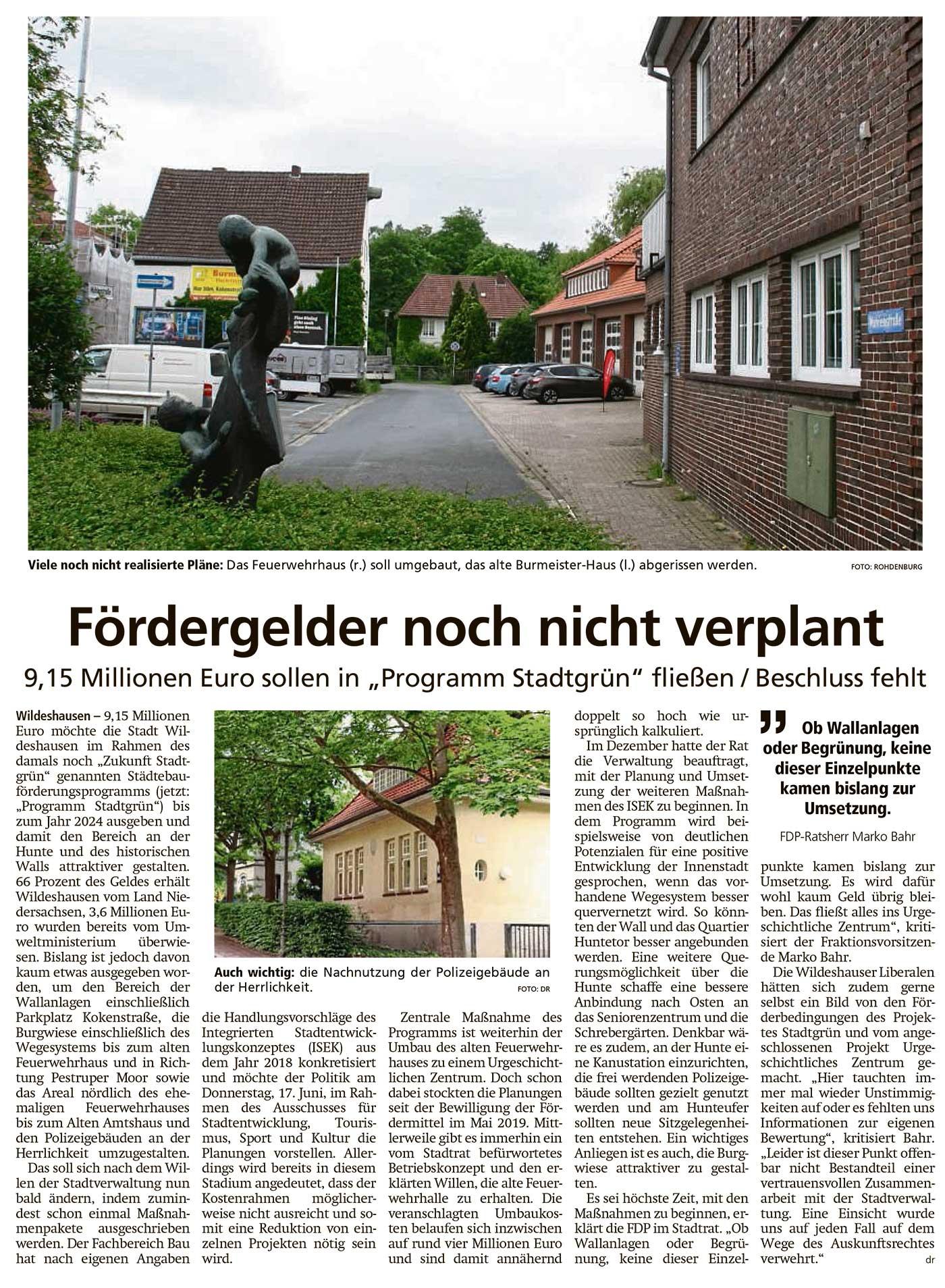 Fördergelder noch nicht verplant9,15 Millionen Euro sollen in 'Programm Stadtgrün' fließen / Beschluss fehltArtikel vom 09.06.2021 (WZ)
