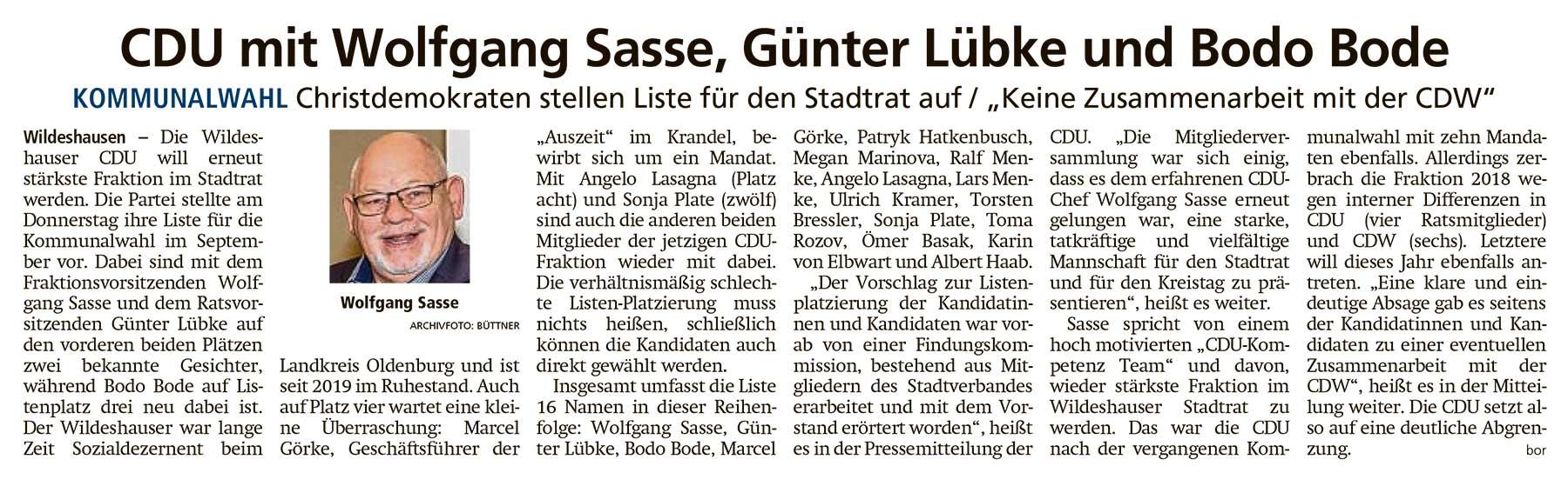 CDU mit Wolfgang Sasse, Günter Lübke und Bodo BodeKommunalwahl // Christdemokraten stellen Liste für den Stadtrat auf / 'Keine Zusammenarbeit mit der CDW'Artikel vom 18.06.2021 (WZ)