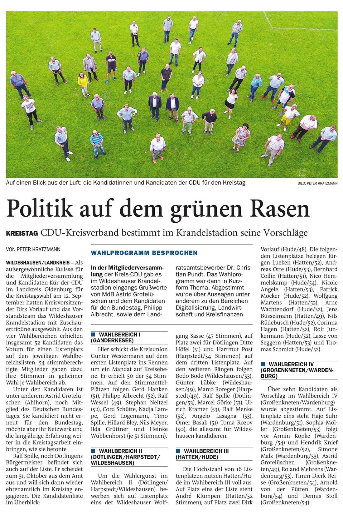 Politik auf dem grünen RasenKreistag: CDU-Kreisverband bestimmt im Krandelstadion seine VorschlägeArtikel vom 21.06.2021 (NWZ)