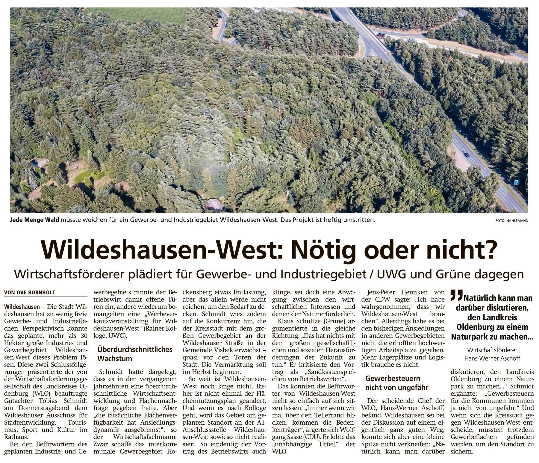 Wildeshausen-West: Nötig oder nicht?Wirtschaftsförderer plädiert für Gewerbe- und Industriegebiet / UWG und Grüne dagegenArtikel vom 21.06.2021 (WZ)