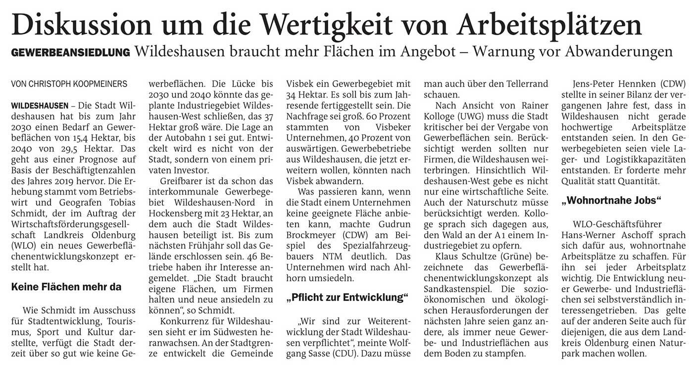 Diskussion um die Wertigkeit von ArbeitsplätzenGewerbeansiedlung: Wildeshausen braucht mehr Flächen im Angebot - Warnung vor AbwanderungenArtikel vom 22.06.2021 (NWZ)