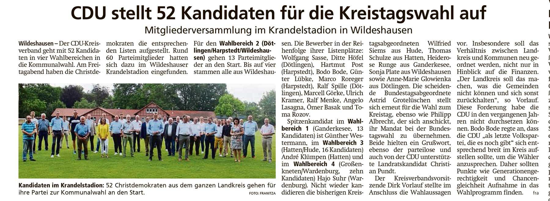 CDU stellt 52 Kandidaten für die Kreistagswahl aufMitgliederversammlung im Krandelstadion in WildeshausenArtikel vom 22.06.2021 (WZ)