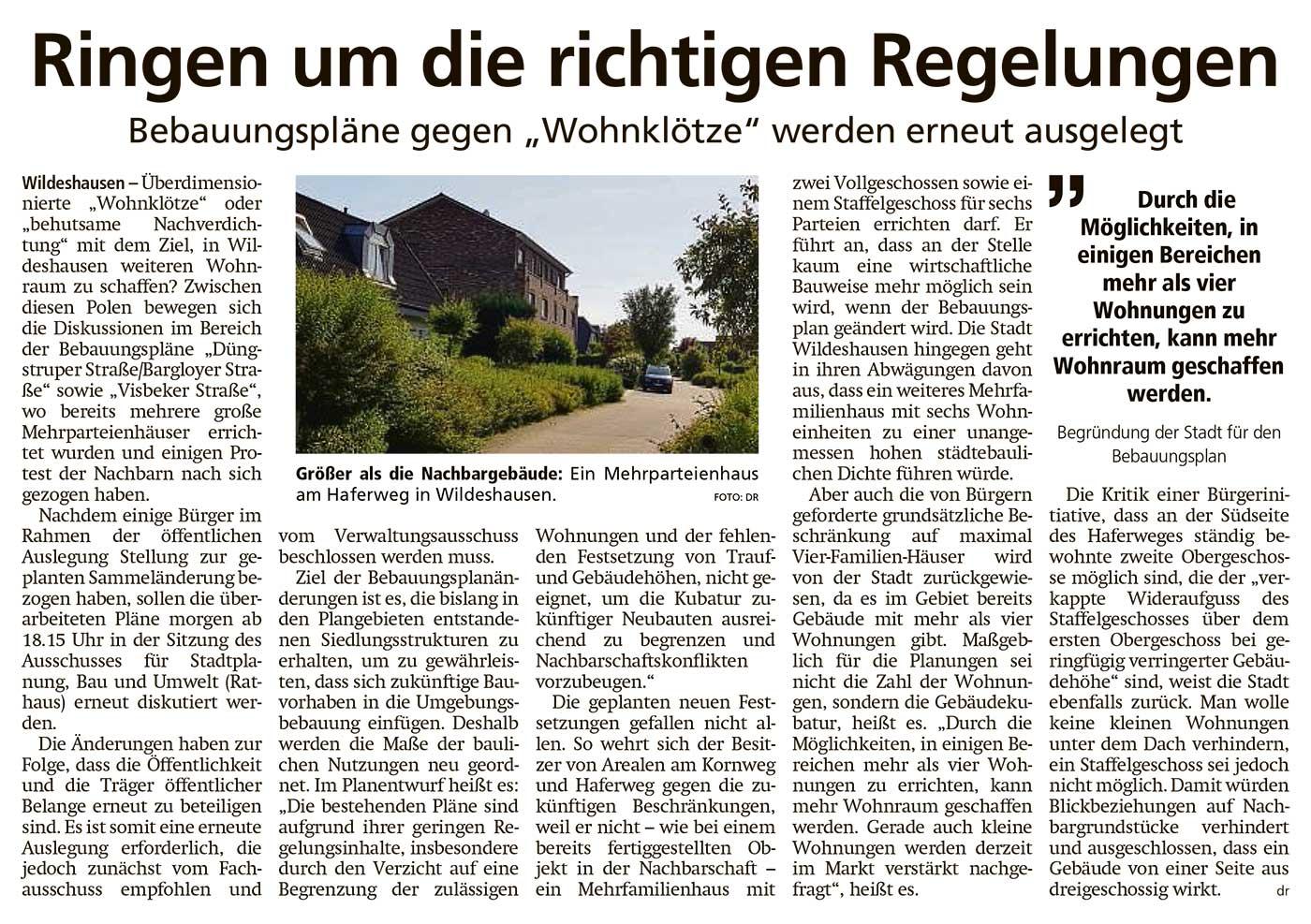 Ringen um die richtigen RegelungenBebauungspläne gegen 'Wohnklötze' werden erneut ausgelegtArtikel vom 23.06.2021 (WZ)
