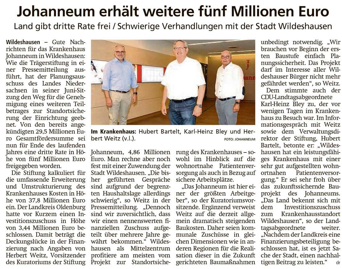 Johanneum erhält weitere fünf Millionen EuroLand gibt dritte Rate frei / Schwierige Verhandlungen mit der Stadt WildeshausenArtikel vom 24.06.2021 (WZ)