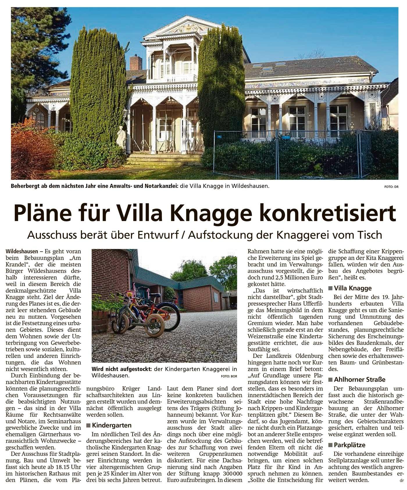 Pläne für Villa Knagge konkretisiertAusschuss berät über Entwurf / Aufstockung der Knaggerei vom TischArtikel vom 24.06.2021 (WZ)