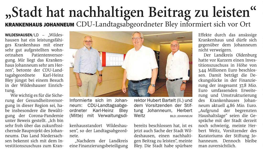 'Stadt hat nachhaltigen Beitrag zu leisten'Krankenhaus Johanneum: CDU-Landtagsabgeordneter Bley informiert sich vor OrtArtikel vom 24.06.2021 (NWZ)