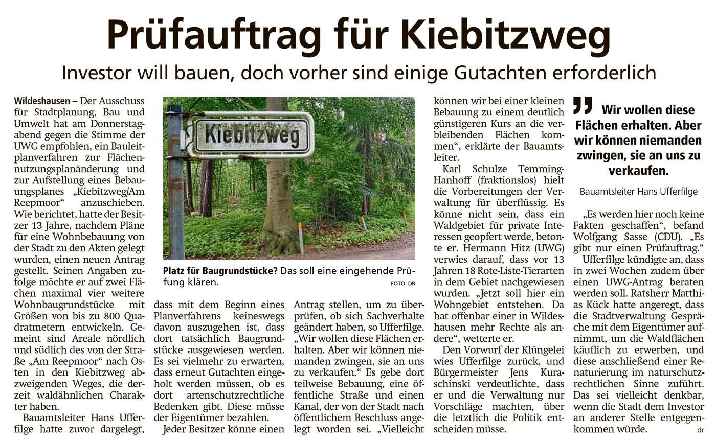 Prüfauftrag für KiebitzwegInvestor will bauen, doch vorher sind einige Gutachten erforderlichArtikel vom 25.06.2021 (WZ)