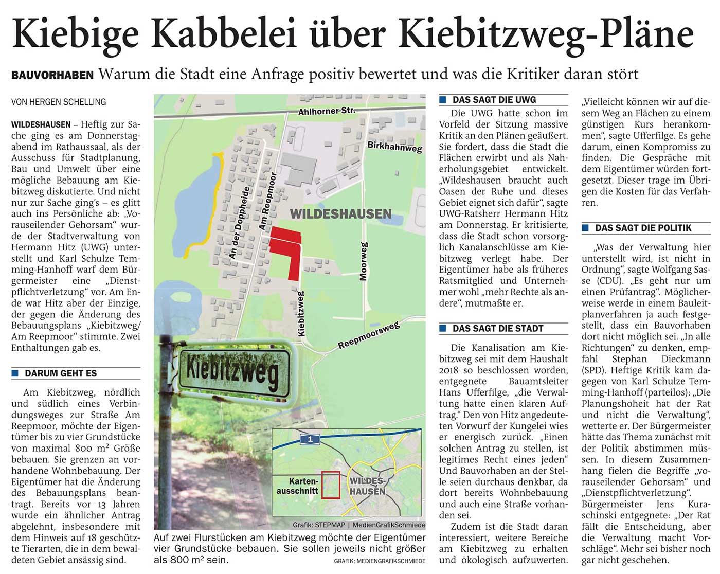Kiebige Kabbelei über Kiebitzweg-PläneBauvorhaben: Warum die Stadt eine Anfrage positiv bewertet und was die Kritiker daran störtArtikel vom 26.06.2021 (NWZ)