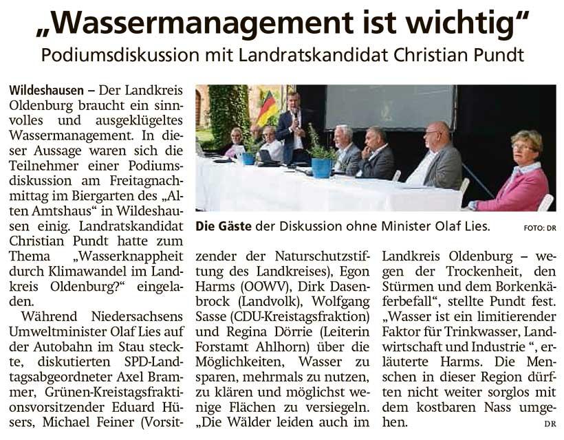 'Wassermanagement ist wichtig'Podiumsdiskussion mit Landratskandidat Christian PundtArtikel vom 26.06.2021 (WZ)