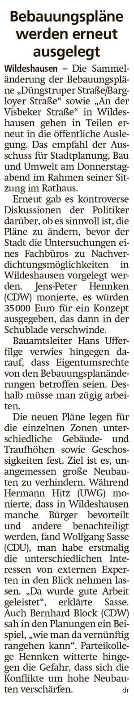 Bebauungspläne werden erneut ausgelegtDie Sammeländerung der Bebauungspläne 'Düngstruper Straße/Bargloyer Straße' sowie 'An der Visbeker Straße'...Artikel vom 26.06.2021 (WZ)