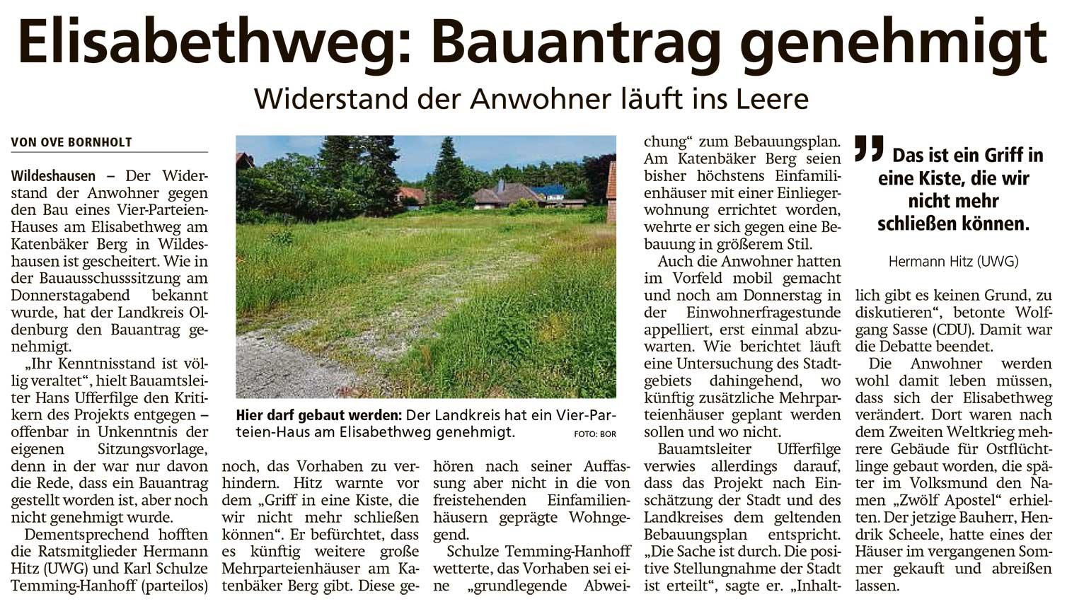 Elisabethweg: Bauantrag genehmigtWiderstand der Anwohner läuft ins LeereArtikel vom 26.06.2021 (WZ)