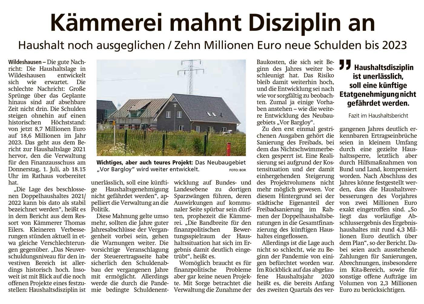 Kämmerei mahnt Disziplin anHaushalt noch ausgeglichen / Zehn Millionen Euro neue Schulden bis 2023Artikel vom 29.06.2021 (WZ)