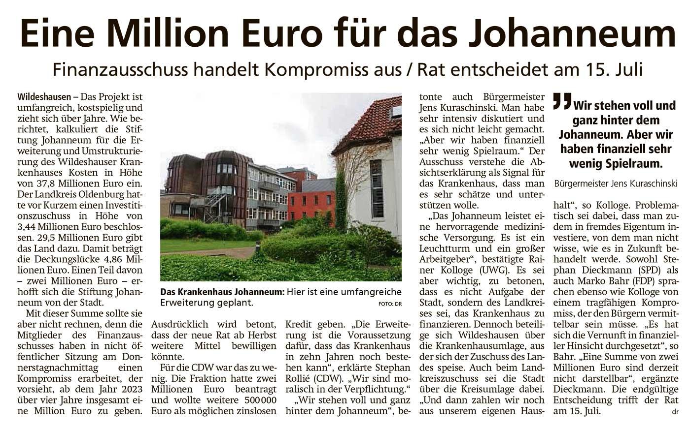 Eine Million Euro für das JohanneumFinanzausschuss handelt Kompromiss aus / Rat entscheidet am 15. JuliArtikel vom 02.07.2021 (WZ)