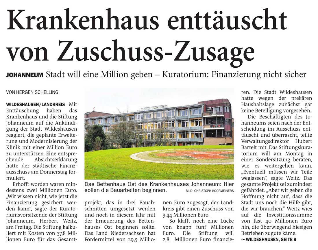 Krankenhaus enttäuscht von Zuschuss-ZusageJohanneum: Stadt will eine Million geben - Kuratorium: Finanzierung nicht sicherArtikel vom 03.07.2021 (NWZ)
