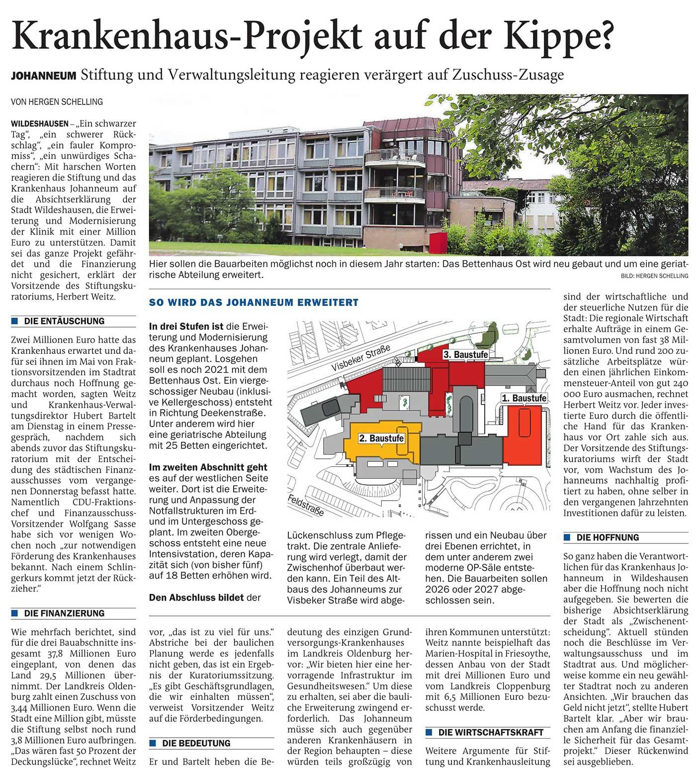 Krankenhaus-Projekt auf der Kippe?Johanneum: Stiftung und Verwaltungsleitung reagieren verärgert auf Zuschuss-ZusageArtikel vom 07.07.2021 (NWZ)