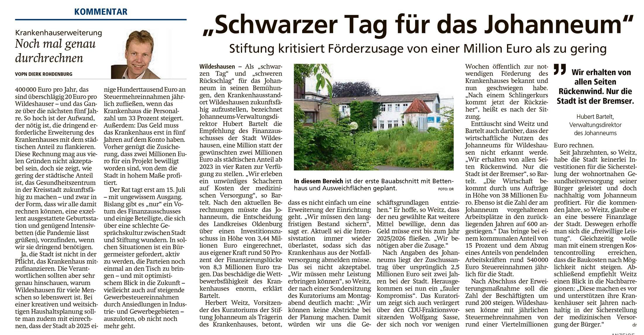 'Schwarzer Tag für das Johanneum'Stiftung kritisiert Förderzusage von einer Million Euro als zu gering // Kommentar: Noch mal genau durchrechnenArtikel vom 07.07.2021 (WZ)