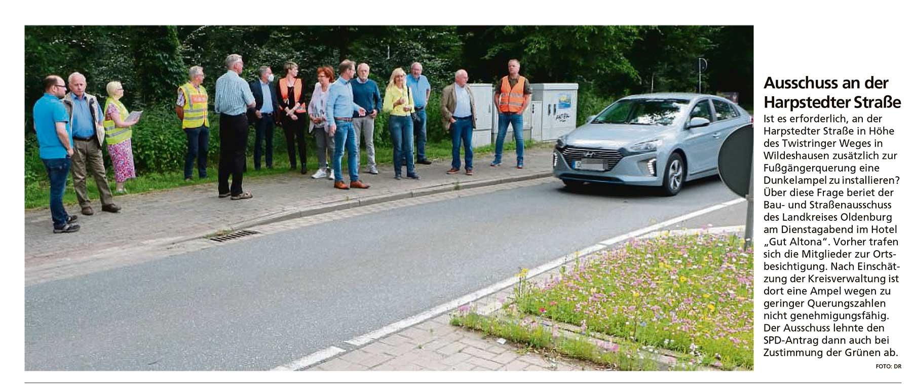 Ausschuss an der Harpstedter StraßeIst es erforderlich, an der Harpstedter Straße in Höhe des Twistringer Weges...Artikel vom 07.07.2021 (WZ)