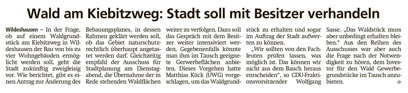 Wald am Kiebitzweg: Stadt soll mit Besitzer verhandelnIn der Frage, ob auf einem Waldgrundstück...Artikel vom 08.07.2021 (WZ)