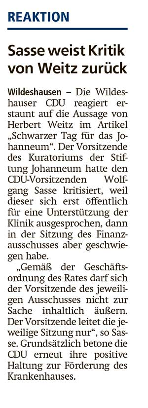 Sasse weist Kritik von Weitz zurückDer Wildeshauser CDU reagiert erstaunt auf die Aussage von Herbert Weitz im Artikel 'Schwarzer Tag für das Johanneum'....Artikel vom 08.07.2021 (WZ)