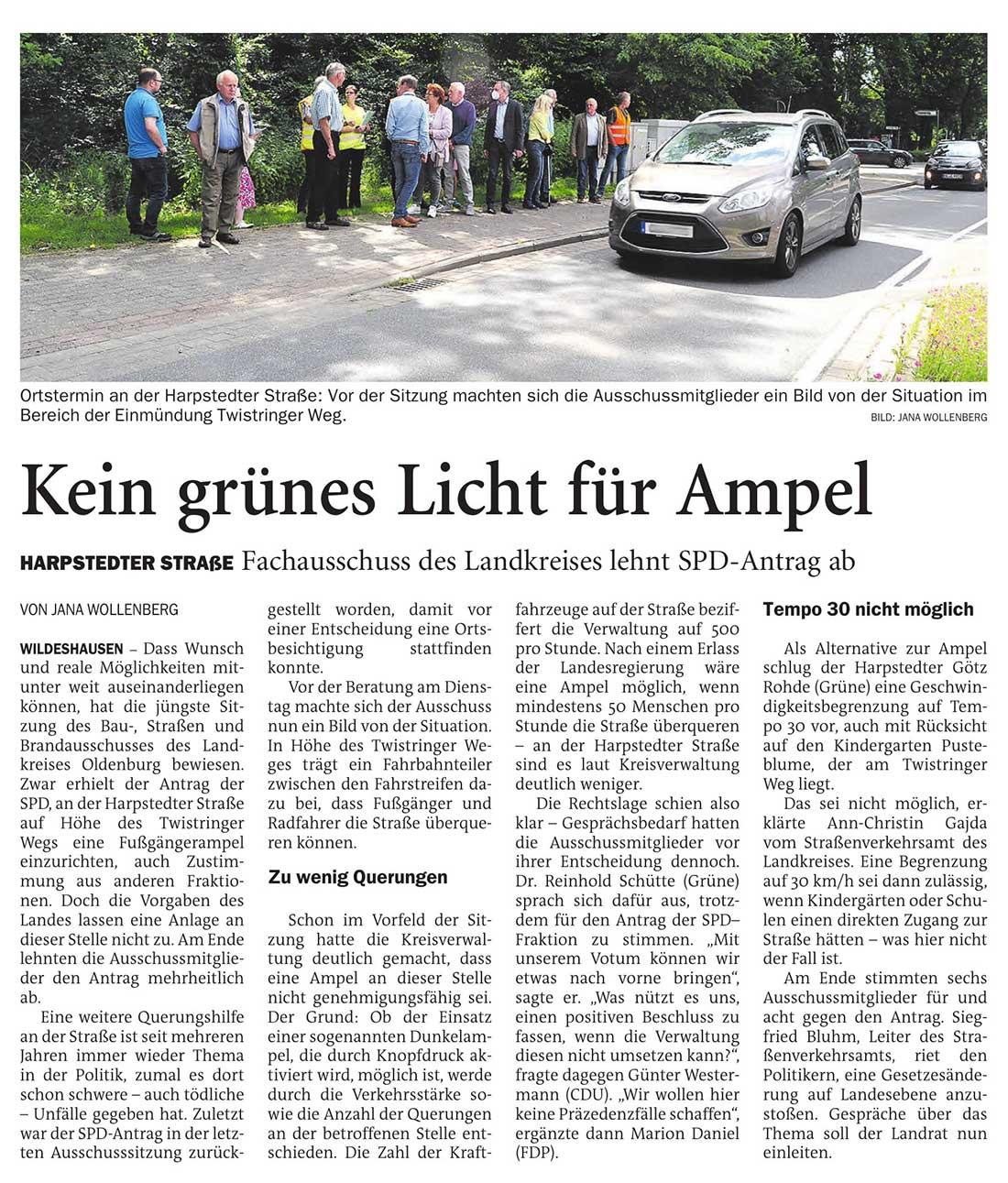 Kein grünes Licht für AmpelHarpstedter Straße: Fachausschuss des Landkreises lehnt SPD-Antrag abArtikel vom 08.07.2021 (NWZ)
