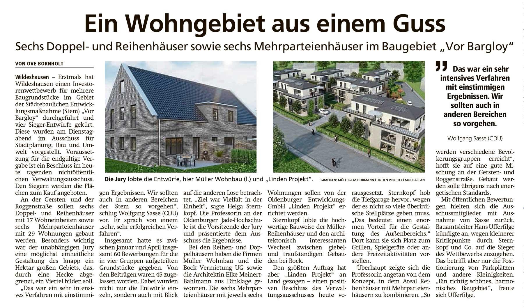 Ein Wohngebiet aus einem GussSechs Doppel- und Reihenhäuser sowie sechs Mehrparteienhäuser im Baugebiet 'Vor Bargloy'Artikel vom 08.07.2021 (WZ)