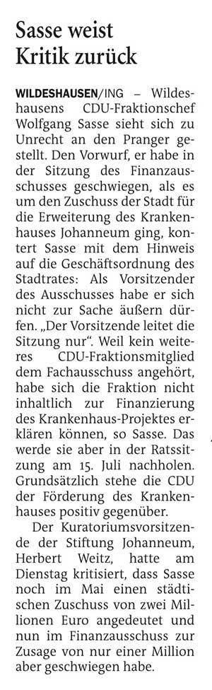 Sasse weist Kritik zurückJohanneum // Wildeshausens CDU-Fraktionschef Wolfgang Sasse sieht sich zu Unrecht an den Pranger gestellt. Den Vorwurf,...Artikel vom 08.07.2021 (NWZ)
