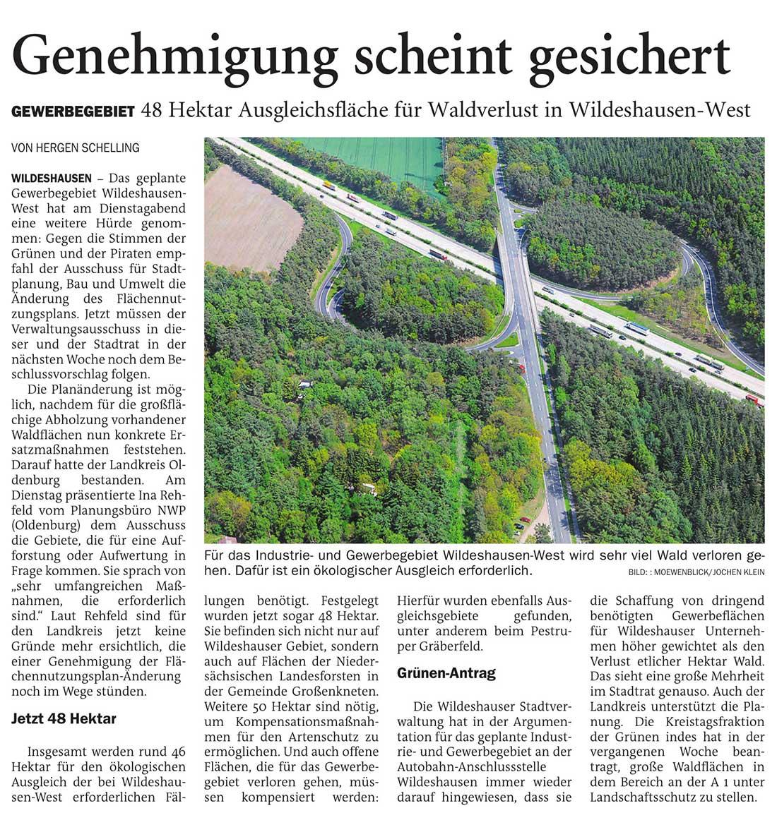 Genehmigung scheint gesichertGewerbegebiet: 48 Hektar Ausgleichsfläche für Waldverlust in Wildeshausen-WestArtikel vom 08.07.2021 (NWZ)