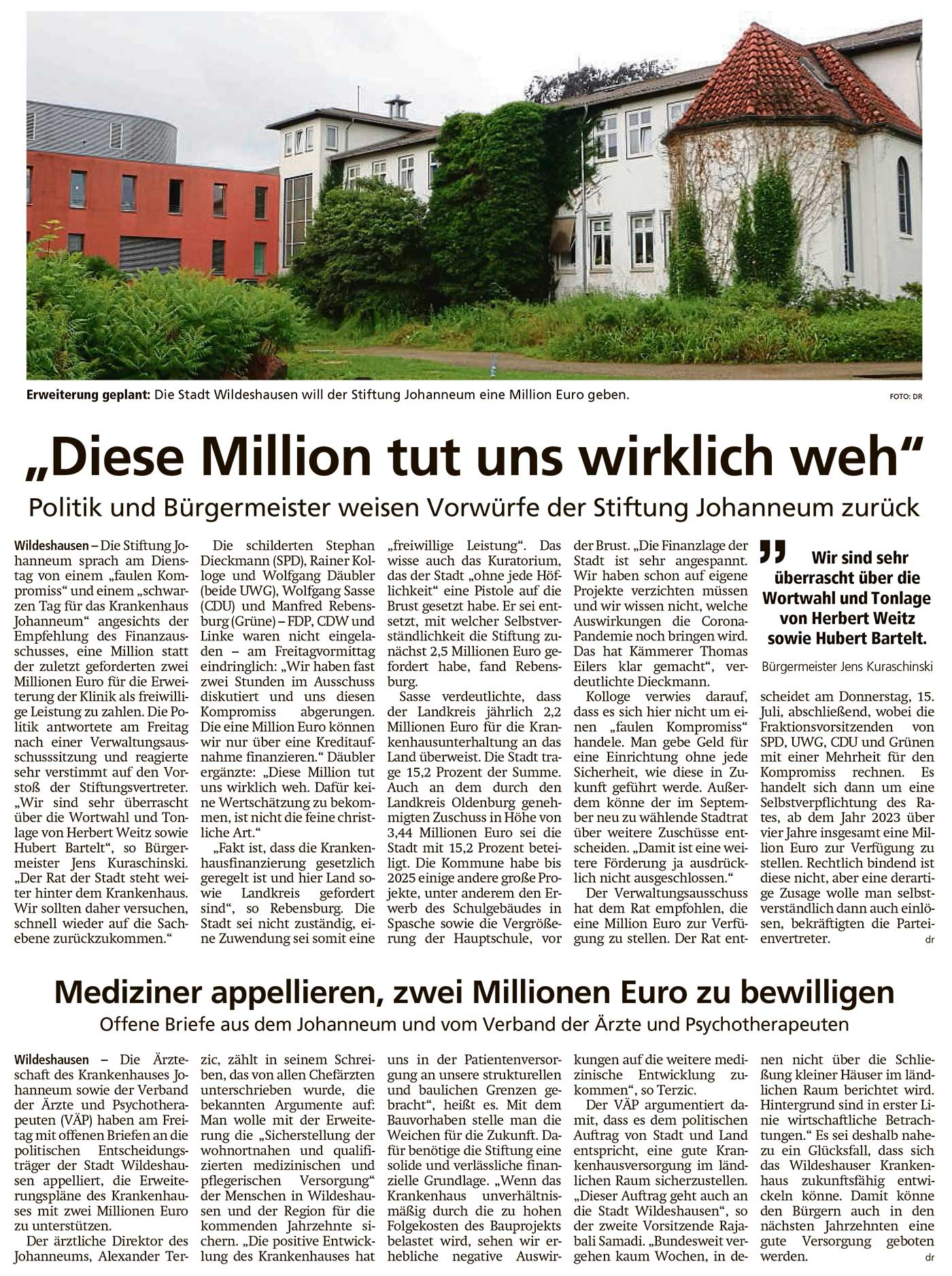 'Diese Million tut uns wirklich weh'Politik und Bürgermeister weisen Vorwürfe der Stiftung Johanneum zurück // Mediziner appellieren, zwei Millionen Euro zu bewilligenArtikel vom 10.07.2021 (WZ)