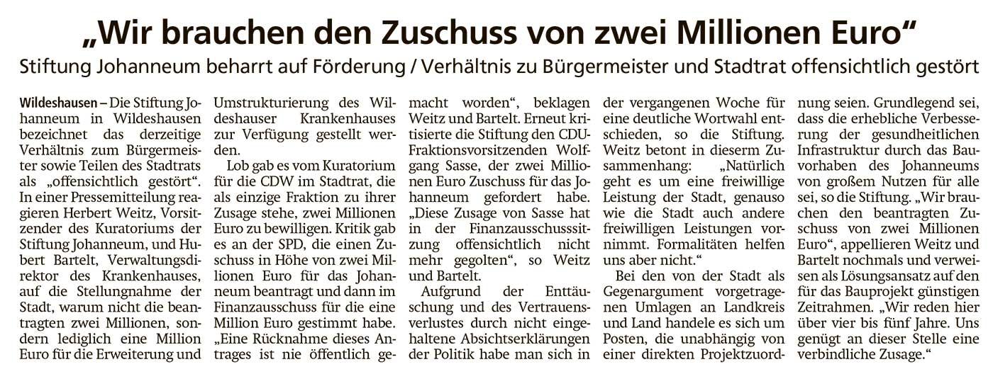 'Wir brauchen den Zuschuss von zwei Millionen Euro'Stiftung Johanneum beharrt auf Förderung / Verhältnis zur Bürgermeister und Stadtrat offensichtlich gestörtArtikel vom 13.07.2021 (WZ)