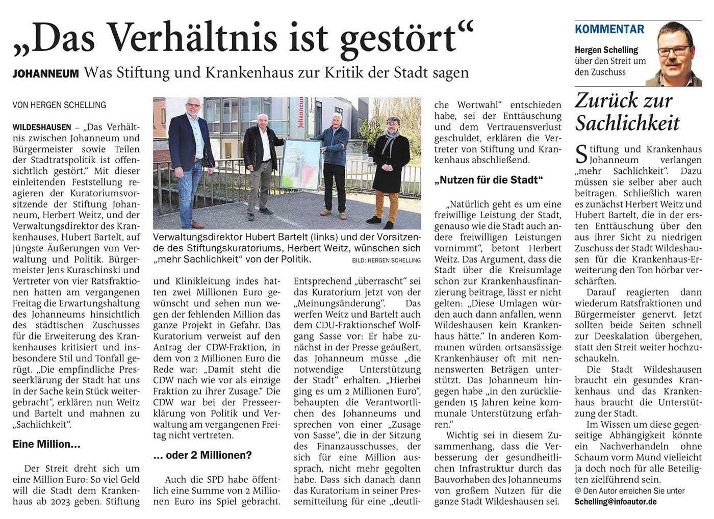 'Das Verhältnis ist gestört'Johanneum: Was Stiftung und Krankenhaus zur Kritik der Stadt sagen // Kommentar: Zurück zur SachlichkeitArtikel vom 13.07.2021 (NWZ)